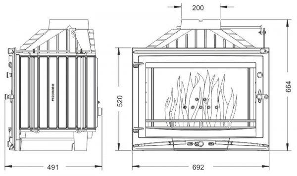Uniflam 700 Selenic ECO z szybrem, doprowadzenie powietrza