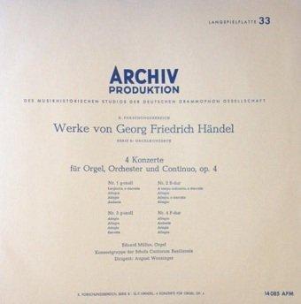 Georg Friedrich Händel, Eduard Müller, Konzertgruppe Der Schola Cantorum Basilensis, August Wenzinger - Werke Von Georg Friedrich Händel, 4 Konzerte Für Orgel, Orchester Und Continuo, Op. 4 (LP)