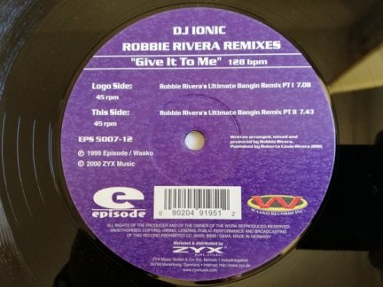 DIonic - Give It To Me (Robbie Rivera Remixes) (12'')