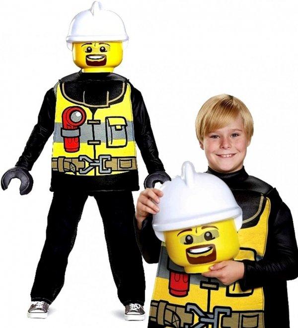 STRÓJ na bal Strażak LEGO CITY MASKA Rękawiczki 7-8 LAT