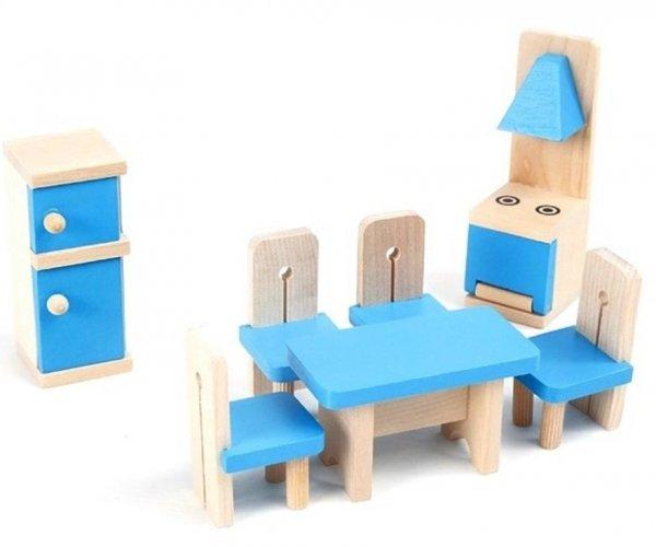 Drewniane MEBELKI dla Lalek KUCHNIA Stół Krzesełka HH