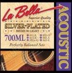 La Bella 700ML Silver Plated struny gitary akustycznej