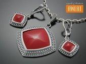RUSH srebrny komplet biżuterii z czerwonym kwarcem