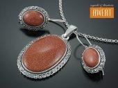 ADINSA DESERT SAND srebrny komplet biżuterii z kamieniami i markazytami