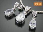 CESME CRYSTAL srebrny komplet z cyrkoniami