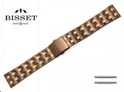 BISSET 22 mm bransoleta stalowa BR111 brązowa
