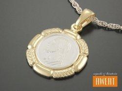 Medalik srebrny z wizerunkiem Jezusa złocony