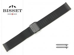 BISSET 18 mm bransoleta stalowa mesh BM101 czarna