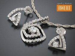 SNAKE CRYSTAL srebrny komplet biżuterii z cyrkoniami