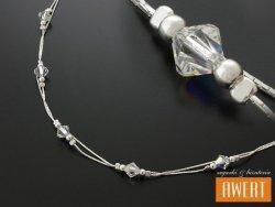 ABHA CRYSTAL AB srebrny naszyjnik kryształy Swarovski
