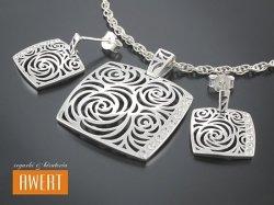 BARMA CRYSTAL srebrny komplet biżuterii z cyrkoniami