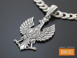 Orzeł w Koronie z Matką Boską Częstochowską - wisior srebrny
