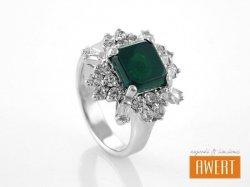 GOMERA CRYSTAL srebrny pierścionek z kamieniem roz.13