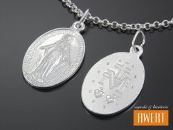 Cudowny medalik srebrny dwustronny Matka Boska Cudowna L (duży)