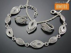 ADAS srebrny komplet z cyrkoniami