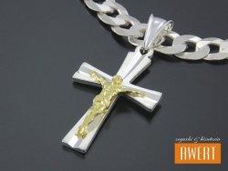 Diamentowany krzyżyk srebrny z Jezusem pozłacany