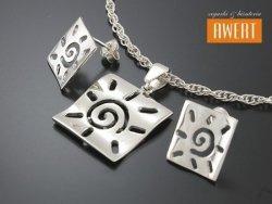 INES srebrny komplet kolczyki i zawieszka