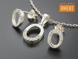NAVOI CRYSTAL srebrny komplet biżuterii z cyrkoniami