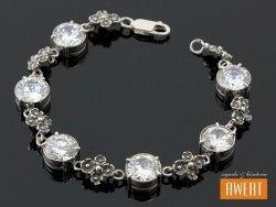 AINE srebrna bransoleta z dużymi cyrkoniami