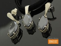 JASMINA BLACK srebrny komplet z czarną cyrkonią