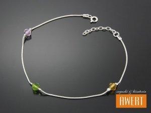 GALLE srebrna bransoletka na nogę kryształy Swarovski 26 cm