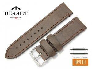 BISSET 24 mm XL pasek skórzany BS127 brązowy