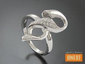 DERUTA CRYSTAL srebrny pierścionek z cyrkoniami roz.11