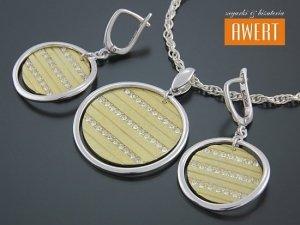 ESPOO GOLD srebrny komplet bizuterii pozłacany z cyrkoniami