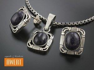 MAGWE BLACK srebrny komplet z kamieniami