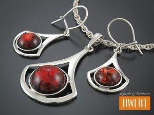 EREN RED srebrny komplet biżuterii z kamieniami