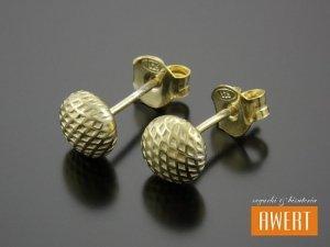 BUTTON GRID GOLD kolczyki srebrne 7 mm