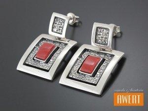 FANO RED kolczyki srebrne z kamieniami