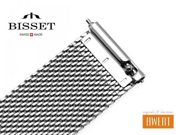 BISSET 18 mm bransoleta stalowa mesh BM101 srebrna