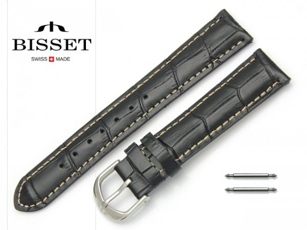 Pasek skórzany do zegarka 18 mm BISSET BS101K białe szycie