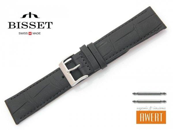 Pasek skórzany do zegarka 22 mm BISSET BS111 czarny