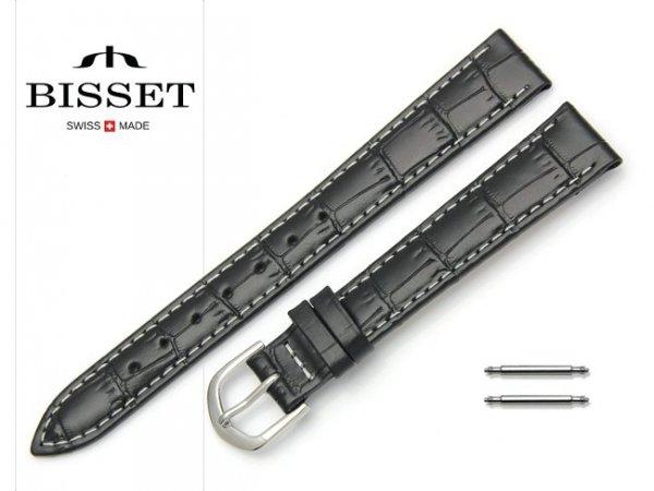 Pasek skórzany do zegarka 14 mm BISSET BS110 białe szycie