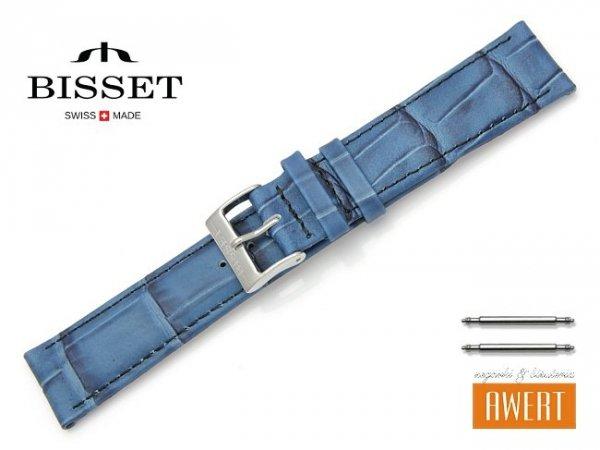 Pasek skórzany do zegarka 20 mm BISSET BS122 niebieski