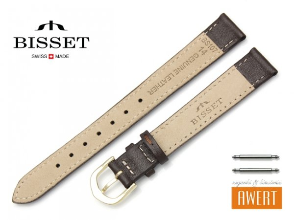 Pasek skórzany do zegarka 14 mm BISSET BS107 brązowy