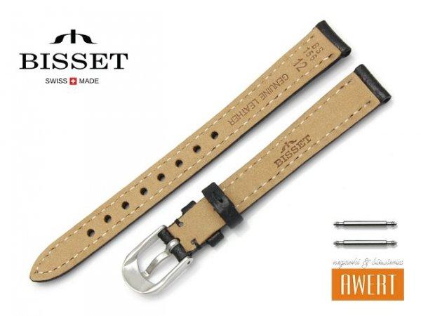 Pasek skórzany do zegarka 12 mm BISSET BS156 czarny