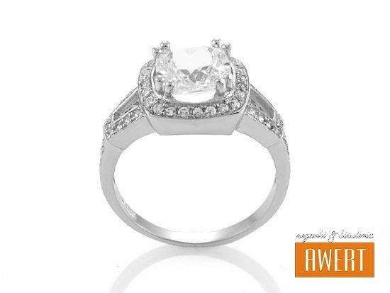 FLORENCE srebrny pierścień z cyrkoniami roz.12