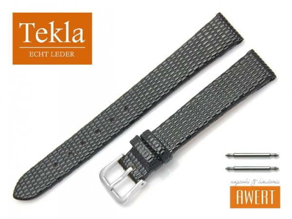 Pasek skórzany do zegarka 14 mm TEKLA PT34 czarny