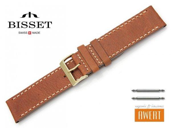 Pasek skórzany do zegarka 22 mm BISSET BS109 brązowy