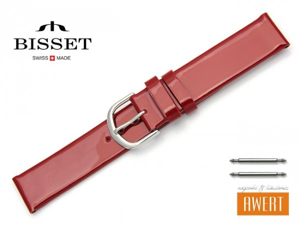 Pasek skórzany do zegarka 18 mm BISSET BS117 czerwony lakier
