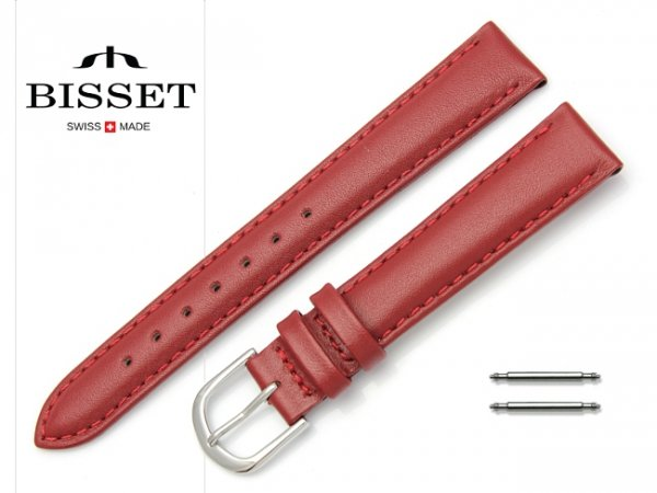 Pasek skórzany do zegarka 16 mm BISSET BS124 czerwony