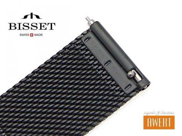 BISSET 12 mm bransoleta stalowa mesh BM101 czarna