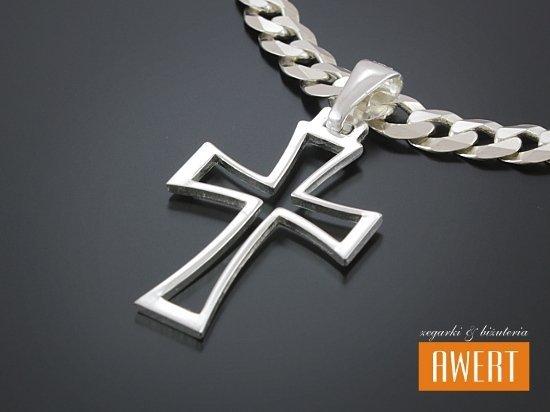 Prosty i elegancki krzyżyk srebrny ażurowy Krzyż Południa