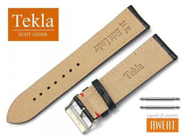 Pasek skórzany do zegarka 24 mm XL TEKLA PT41 czarny czerwone szycie