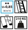 Bodentreppe OMAN  SOLID EXTRA Dachbodentreppe mit Metallleiter  U=0,85 max Belastung von 210 kg weiße Öffnungsklappe Raumhöhe 280