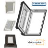 Ausstiegsfenster Dobroplast PVC Skylight Loft 55x78 Dachausstieg aus Kunststoff,  Profile in Weiß PVC Uw = 1,8 W/m2K  Dachluken - Dachausstieg - Dachluke - Dachfenster, 7043 8019 RAL, Öffnung: nach Rechts / Links