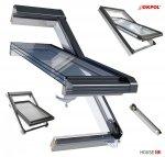Dachfenster OKPOL IGOV N22 PVC Schwingfenster Kunststoff Profile in Weiß, 3-Scheiben Uw=0,83, Bad-Dachfenster, Energiesparende 3-fach-Verglasung, ENERGIE, Aluminium